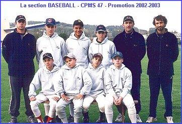 La 2° promotion Baseball du CPMS 47